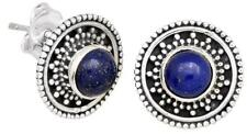 Lapis Gemstone Stud Earrings Solid 925 Sterling Silver Jewelry IE20496