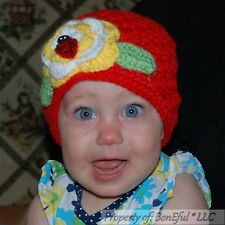 BonEful RTS NEW 2/3 VTG Girl Red Crochet Baby Hat Flower Lady*bug China Adoption