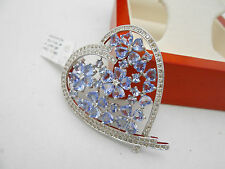 WOW HUGE 18k Solid White Gold Natural Tanzanite & Diamond Heart Pendant Charm