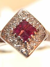 Ruby And diamond White Gold Cluster Ring