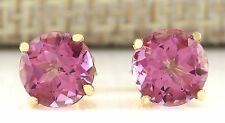 3.00CTW NATURAL PINK TOURMALINE EARRINGS 14K SOLID YELLOW GOLD