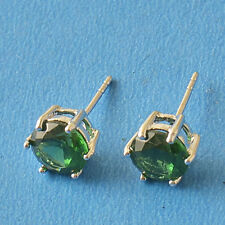 HOT SALE 9K White Gold Filled Green Crystal Ladies Stud Earrings F6047