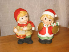2 HOMCO FIGURINES BOY & GIRL W/ DRUM & SYMBOLS