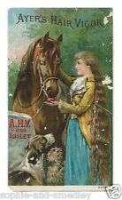 Victorian Trade Card - Ayer's Hair Vigor - Girl with LONG Hair, Horse, Dogs