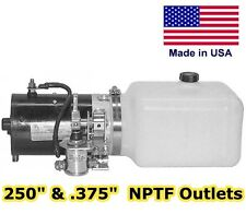 Hydraulic DC Power Unit - Pump, Motor, Poly Reservoir - 3 Way Release - .86 Gal