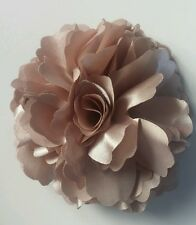 "Girls Women 3.4"" Silk Rose Flower Hair Clip, Brooch, corsage BEIGE COFFEE GOLD"