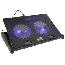 "USB 2 Fan for 17"" Laptop Tablet Blue LED Cooling Cooler Pad Adjustable Stand HK"