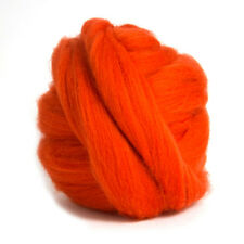 100g DYED MERINO WOOL TOP BEGONIA ORANGE RED DREADS 64's SPINNING FELTING ROVING