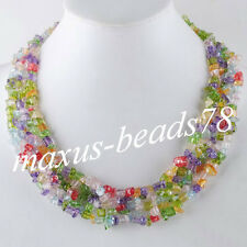 "Free shipping Multicolor Rock Chips Gemstone Beads Weave Necklace 17 1/2 "" MH074"