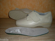 Theresia M. Velcro Slippers Size 8 42 K in porcelain & Nappa leather Hallux
