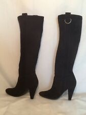 EUC Aldo Knee High Heel Brown Suede Boots Size 9 Pull On Tall