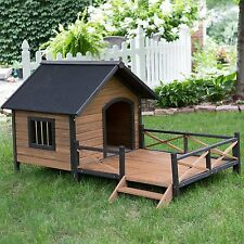 Dog Houses For Large Dogs Outdoor Porch Deck Stair Kennel Wood Lodge Spacious