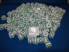 WHITE DICE w/ GREEN PIPS 16mm (200 PACK) BUNCO PARTY FREE SHIPPING