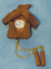 Brown Cuckoo Clock, Doll House Miniatures, 1.12 Scale Accessory, Wall Decor
