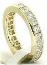 2.75 carat PRINCESS CUT DIAMOND Ring Eternity Band, 14K Yellow Gold G color VS