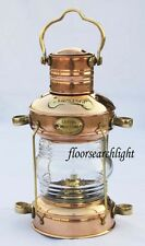 NAUTICAL BRASS & COPPER ANCHOR OIL LAMP MARITIME SHIP HANGING LANTERN BOAT LIGHT