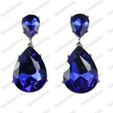 CLIP ON 4cm BIG CRYSTAL DROPS EARRINGS sapphire blue SPARKLY silver pltd GLASS
