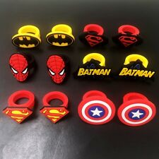 12PCS Kids Boys Rings Super/Bat/Spider Man Cartoon Rings PVC Rings Party Gifts