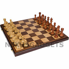 Chess Board Game Set Weighted Pieces 21 INCH FOLDING X-LARGE Inlaid Wood Wooden