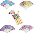 Wedding Party Gift Handmade Chinese Bamboo Flower Pattern Folding Lace Hand Fan