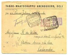 NED INDIE S.M.N.1927-3-12 -S.S.GROTIUS= AAN PASSAGIER- POSTAGE DUE -COLOMBO F/VF