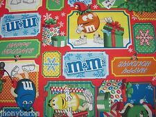 M&Ms CANDY CHRISTMAS PATCHES CHOCOLATES SANTA on 100% COTTON FABRIC Yardage
