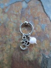 Ohm Sign Freshwater Pearl Cartilage Piercing Captive Ring Tragus 16 Gauge 1/2""