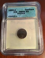 FRANCE  1886-A  1 CENTIME COIN GEM UNCIRCULATED, ICG CERTIFIED MS-65-RB