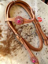 Light Natural Leather Oversized PINK BLING Western Horse Bridle & Reins Set