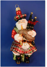 Scottish Santa Bagpipe Plaid Kilt Glass Christmas Tree Ornaments Poland 020032