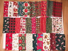 CHRISTMAS FABRIC PATCHWORK QUILTING CRAFTS REMNANTS LARGE BUNDLE COTTON SQUARES