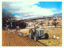 Winter Ploughing Beautiful Picture Painting Country Poster Tractor Farm Crops