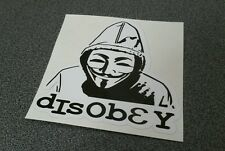 "Anonymous - Guy Fawkes Mask disobey hoody- Sticker - 3"" x 3"" black"