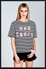 "BNWT nANA jUDY T TEE Shirt DESIGNER STRIPE ""WHO CARES""  SIZE UK 6 NEW UNOPENED"