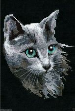 "Riolis Counted Cross Stitch kit 8"" x 12"" ~ RUSSIAN BLUE CAT #764 Sale"