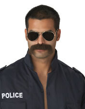 The Man Police Officer Adult Costume Moustache - Dark Brown