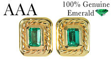 2.85CTS AAA+ Top Quality Colombian Emeralds & Gold Bezel Set Earrings 14k!