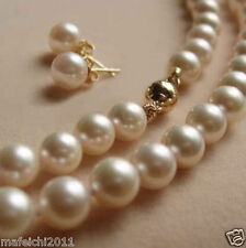 """8MM White Akoya shell Pearl Necklace +Earring AAA 18"""""""