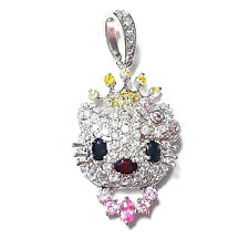 Sparkling HELLO KITTY PENDANT Cubic Zirconia Gems Studded .925 Sterling Silver
