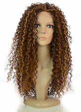 Long Thick Spiral Afro Curl Wig | Lace Front Queen B Wig | Blonde & Brunette