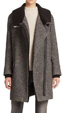 NWT $895 VINCE Black White Wool Blend Leather Trim Rib Knit Collar Coat -S Small