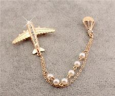 Fashion New Charm Hot Balloon Dangles Pearls Chains Crystal Airplane Pin Brooch