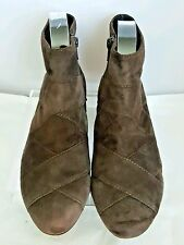 TARYN ROSE Rust Brown Suede Side Zipper Ankle Bootie Low Heel Size 7 US - EUC