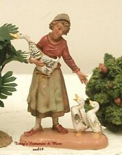 "FONTANINI DEPOSE ITALY RETIRED 4"" BELINDA w/3 GEESE NATIVITY VILLAGE FIGURE NEW"