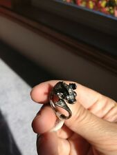 Antiqued sterling silver flying fish ring, 6g, size 8.5