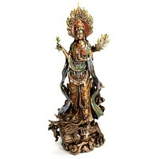 "KWAN YIN DRAGON STATUE 14"" Buddha Goddess HIGH QUALITY Quan Guan Compassion NEW"