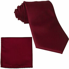 New Polyester Men's extra long Neck Tie & hankie solid formal wedding burgundy