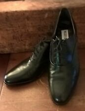 NEW! HAND MADE IN ITALY, MARIO BRUNI SLEEK BLACK LEATHER OXFORDS, SIZE 11.5
