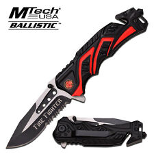 Mtech Ballistic Series Fire Fighter Rescue Spring Assist Assisted Knife #A865FD