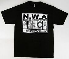 NWA NARCOS WITH ATTITUDE MEN'S CARTEL MAFIA GANGSTER BLACK GRAPHIC T-SHIRT (L)